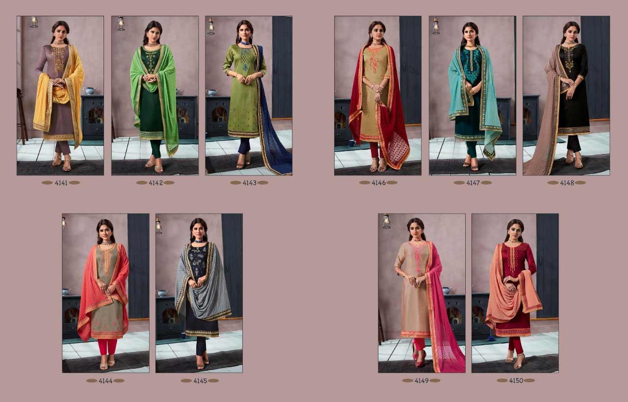 Mallika Kessi Silk Cotton Khatli Work Dress Material
