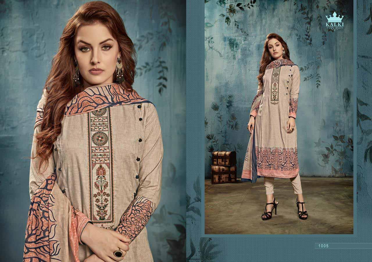 Rozaan Kalki Embroidery Designer Dress Materials
