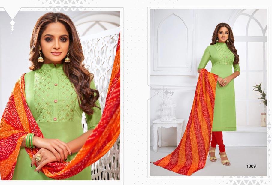 Samaya Modal Silk Fancy Stitch dress Material Set
