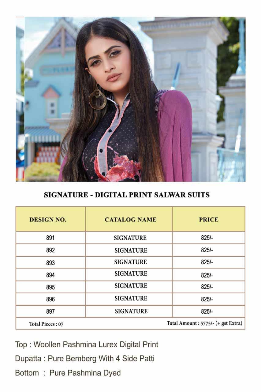 Signature Bipson Digital Print Pashmina Suit