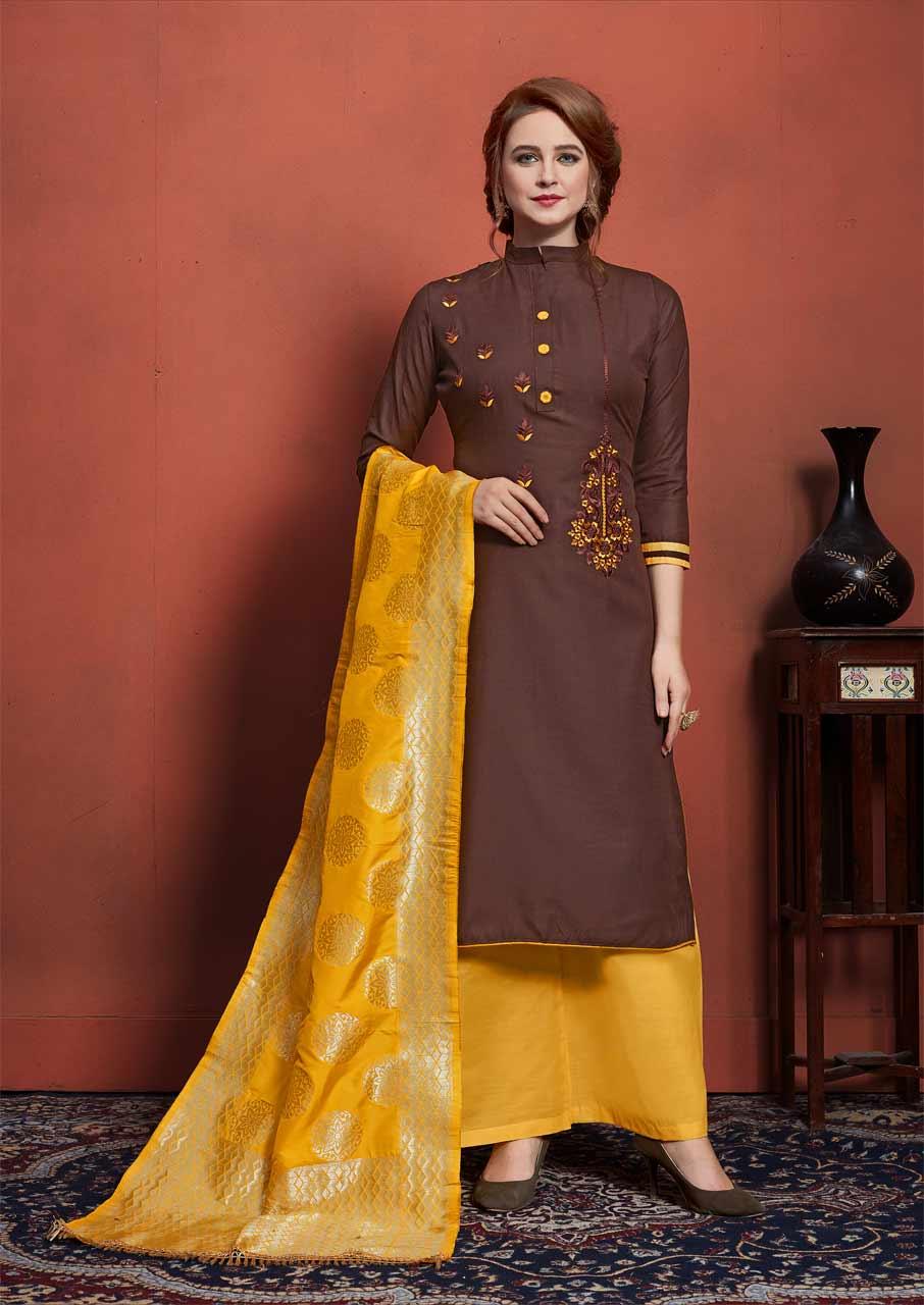 Jacquard Dupatta Dress Materials Catalog Sets