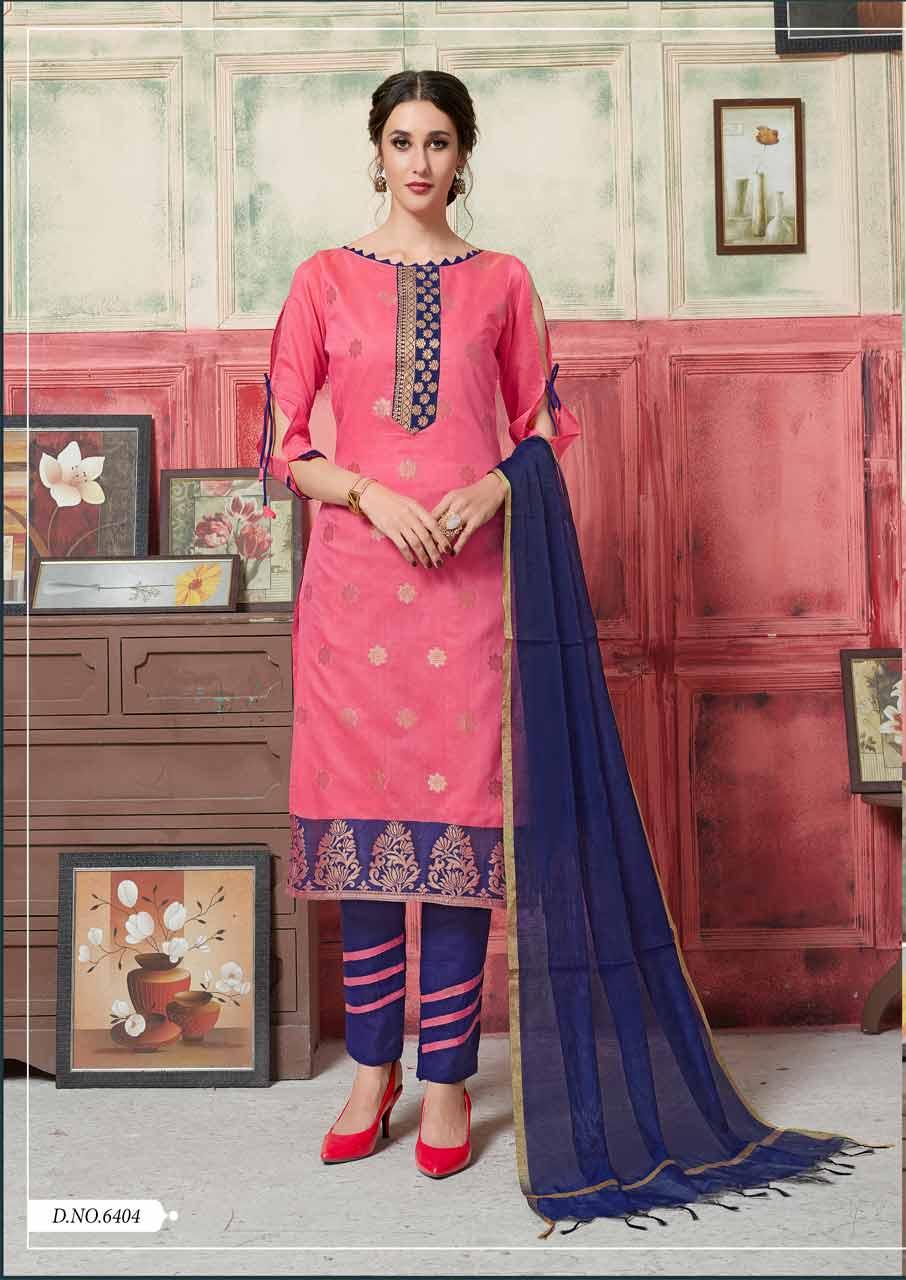 Pink Blue Matching Dress Material Suppliers