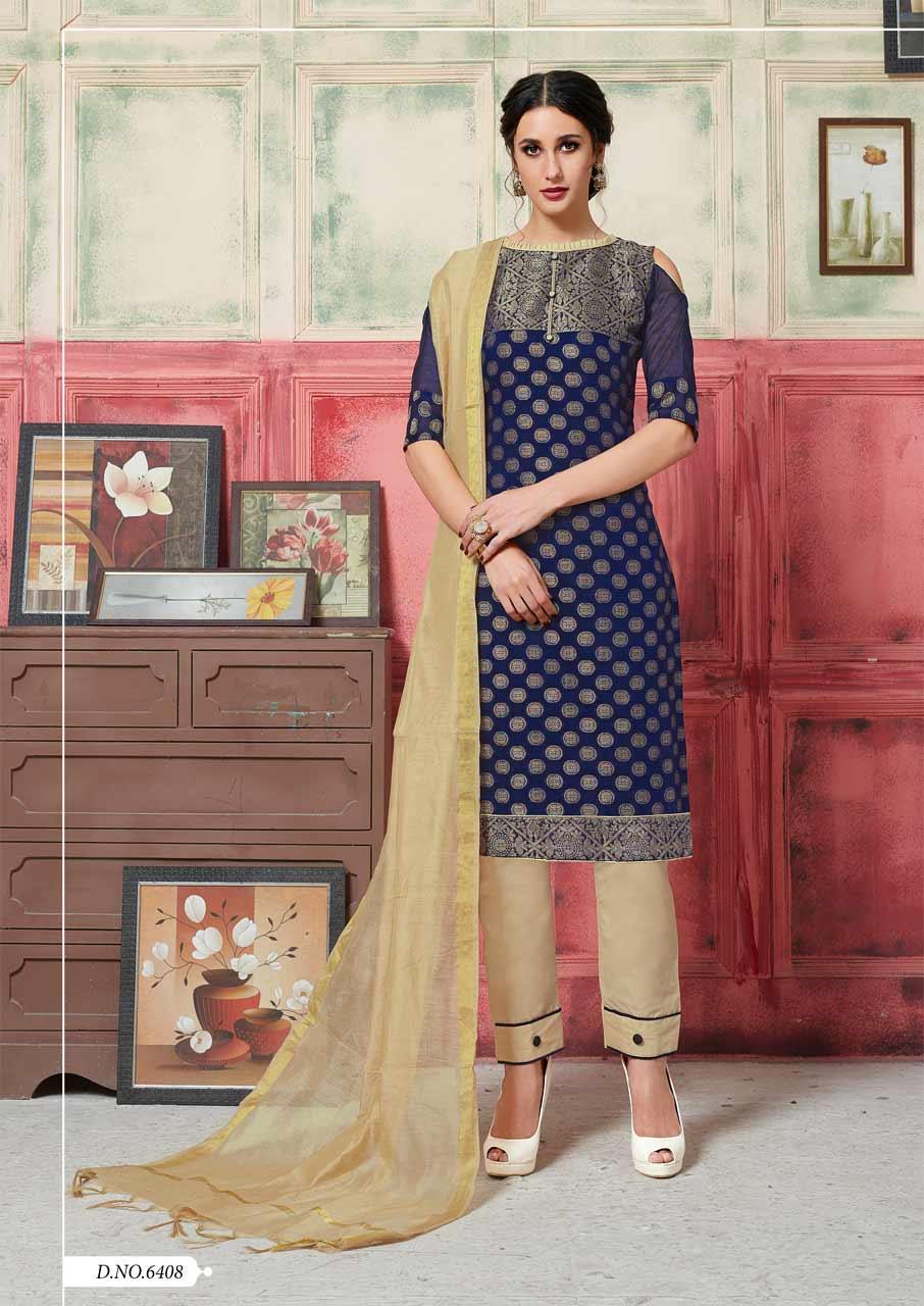 Jacquard Cotton Dress Materials Catalog Suppliers