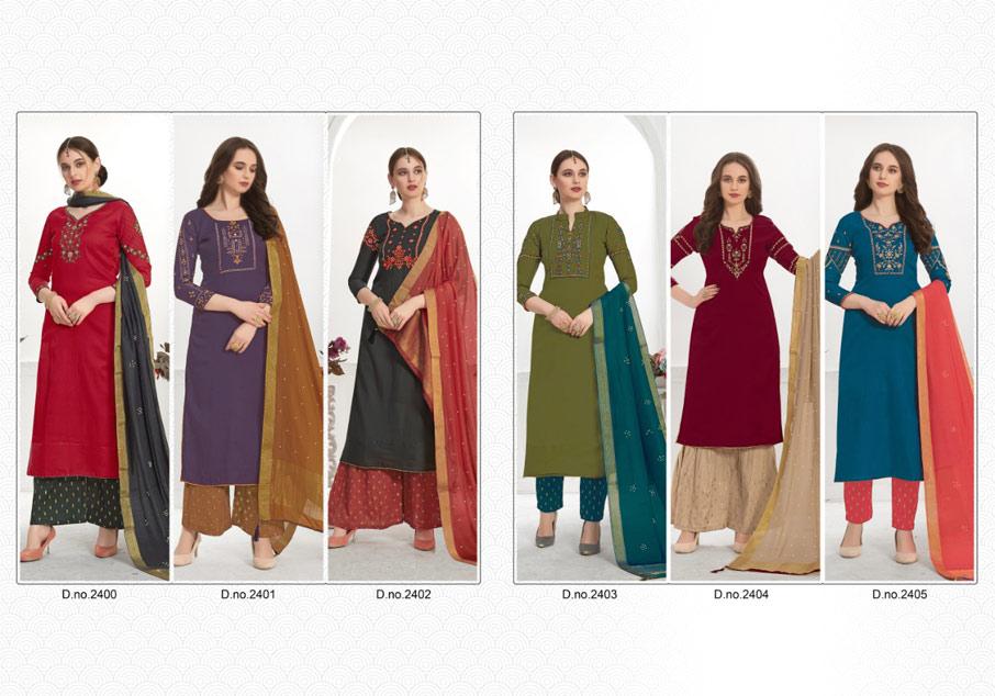 Snowdrop Cotton Silk Plazzo Dress Material Set