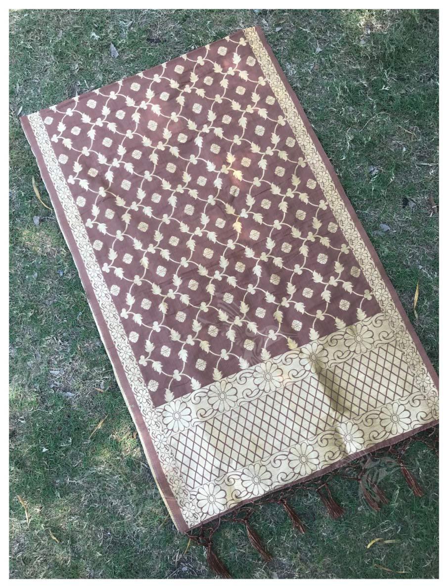 Banarasi Silk Zari Work Tassel Work Kazo Dupatta