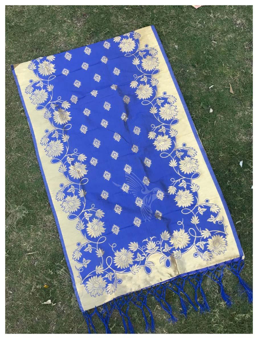 Silk Banarasi Zari Work Dupatta Suppliers for Dress Material