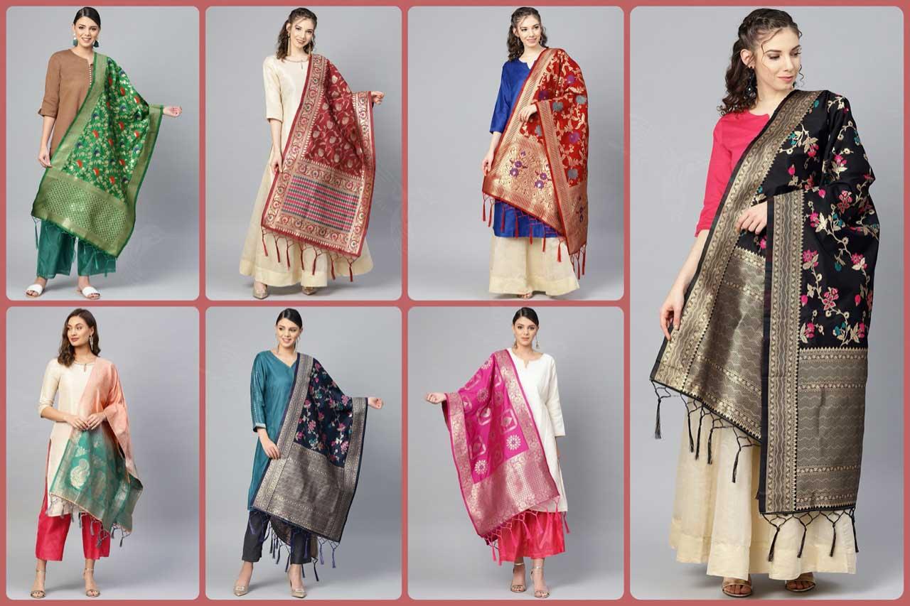 Zari Jacquard Work Wholesale Dupatta Set