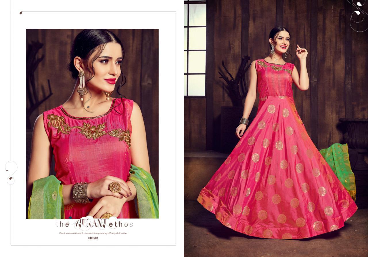 Silk Jacquard Handwork Indian Designer Gown Collection