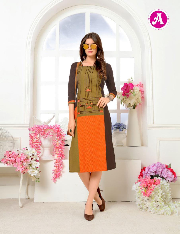 Berista Ayush Fashion Launch Linen Ruby Kurti Catalog