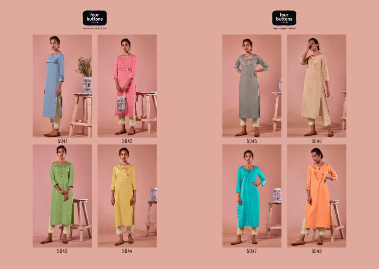 Four Buttons Colors-7 Wholesale Kurti Catalog
