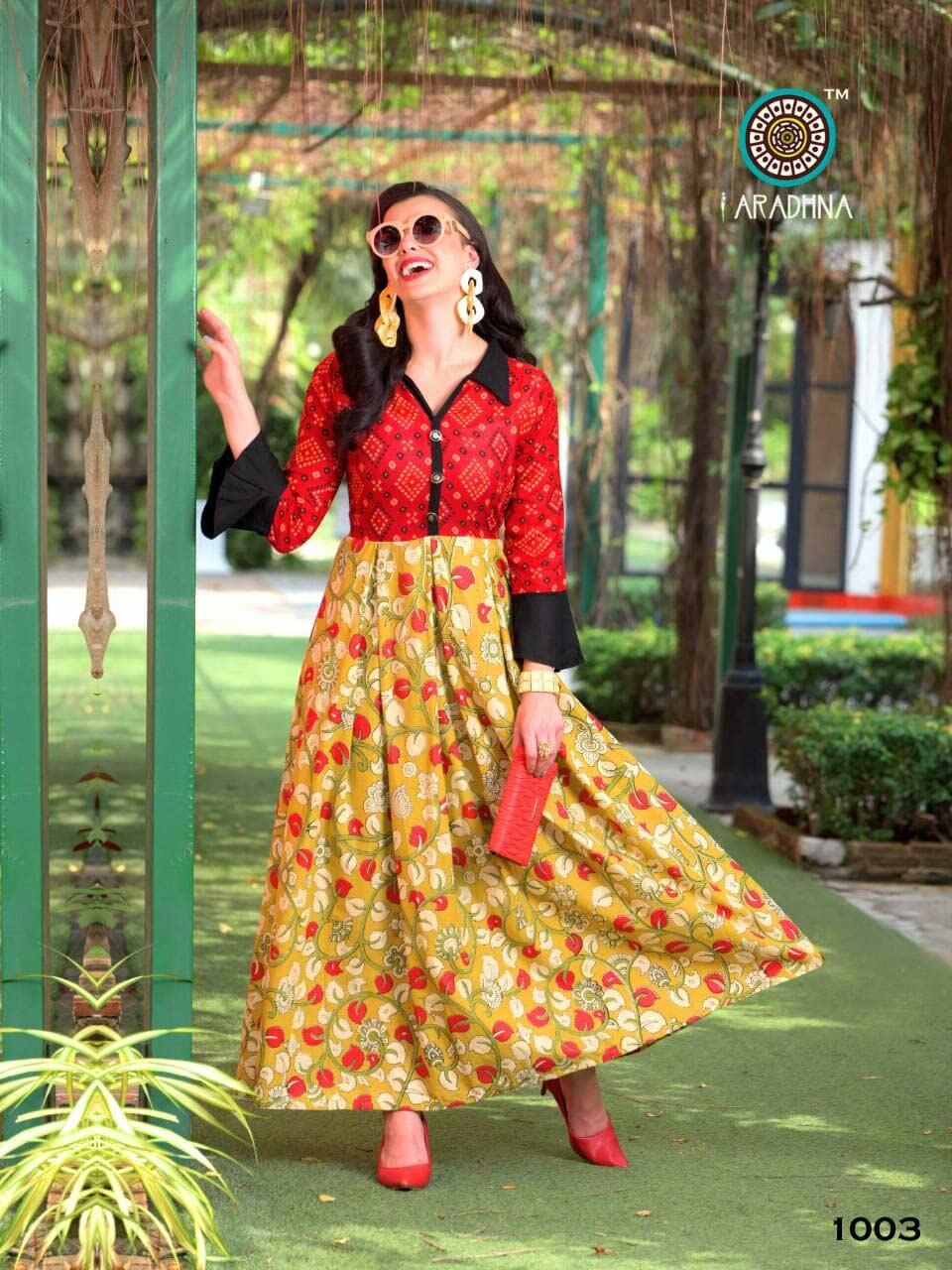 Delight Aradhna Cotton Rayon Flair Kurti Collection