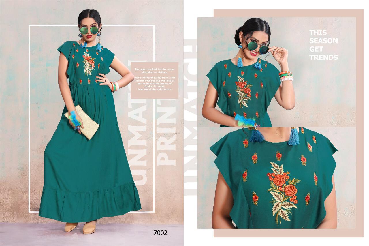 Falguni 4u Fashion Rayon Flex Embroidery Kurti Traders