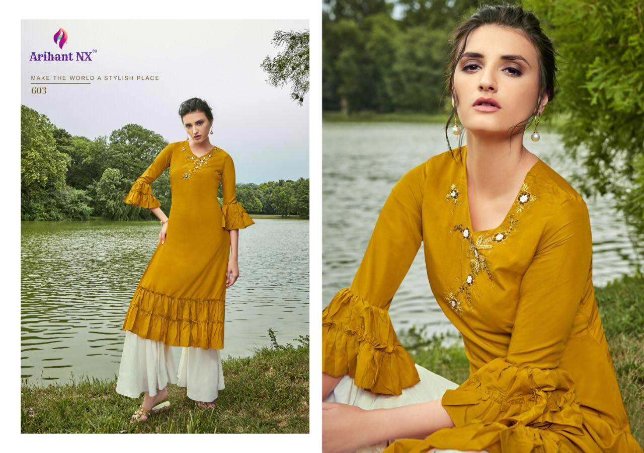 Glorious Arihant Nx Maslin Embroidery Kurti Sets