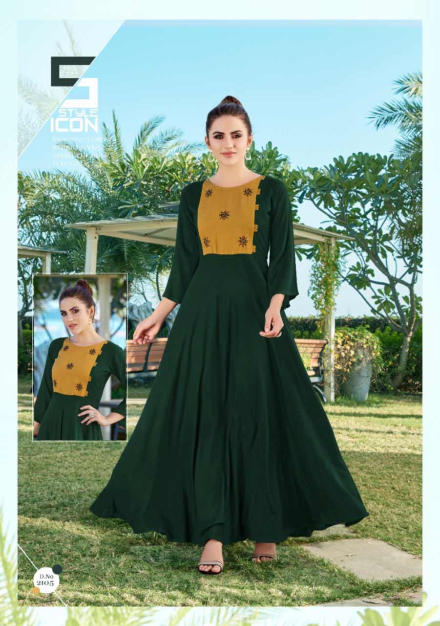 Hellaro Rayon Handwork Gowns Catalog