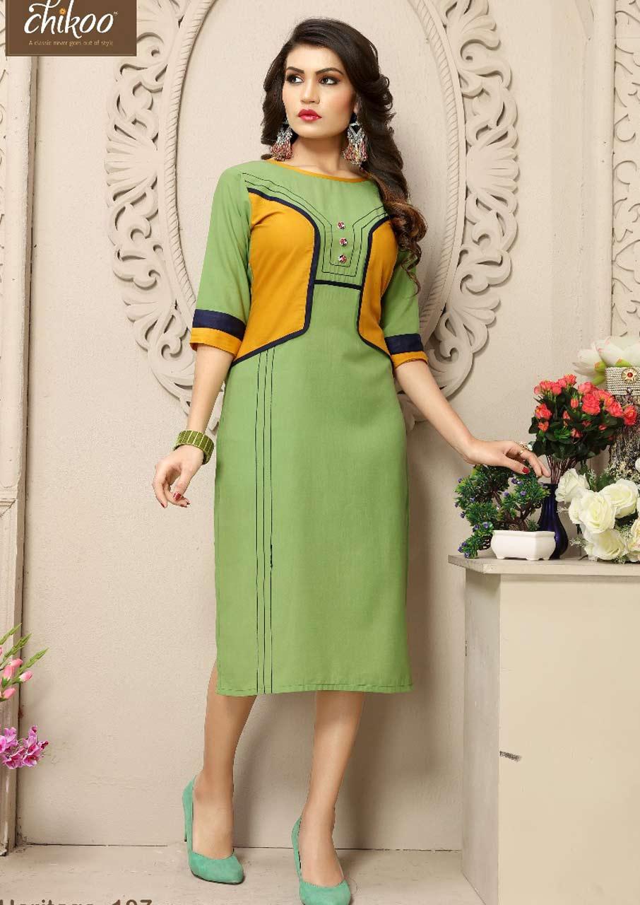Heritage Chikoo Cotton Office Wear Kurti catalogue