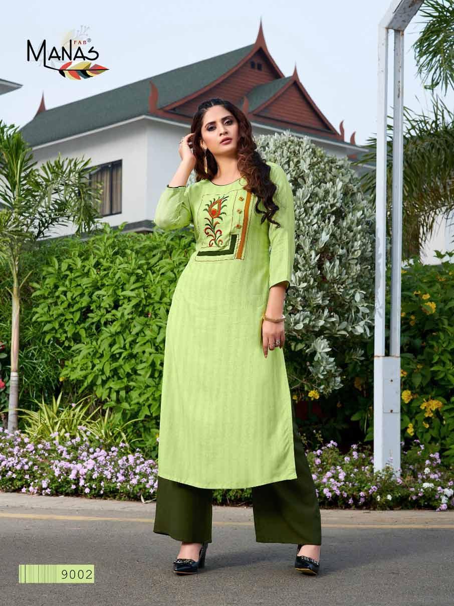 Hirwa Rayon Dyed Embroidery Kurtis Catalog