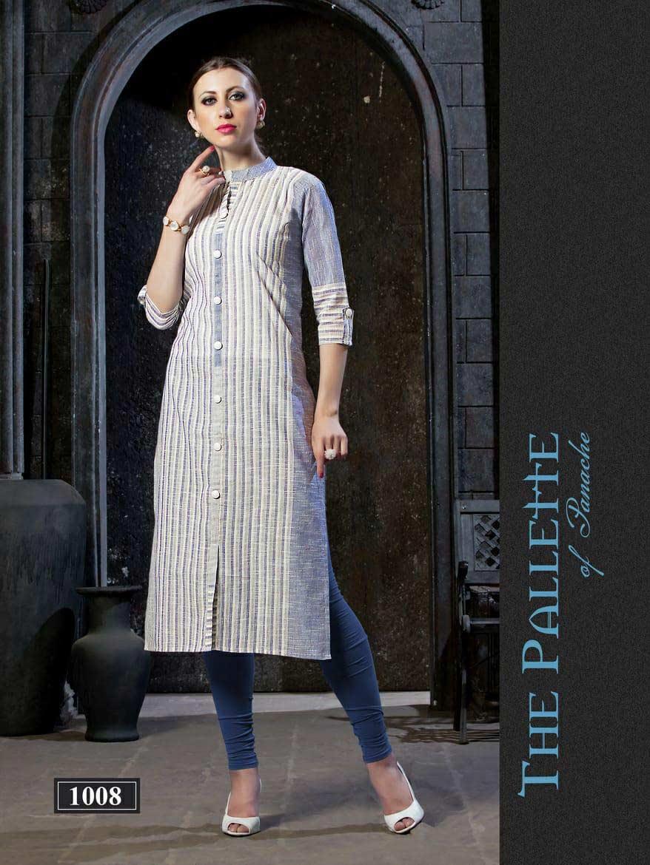 Hitanshi Riya Designer 3D Strips Cotton Kurti Catalog