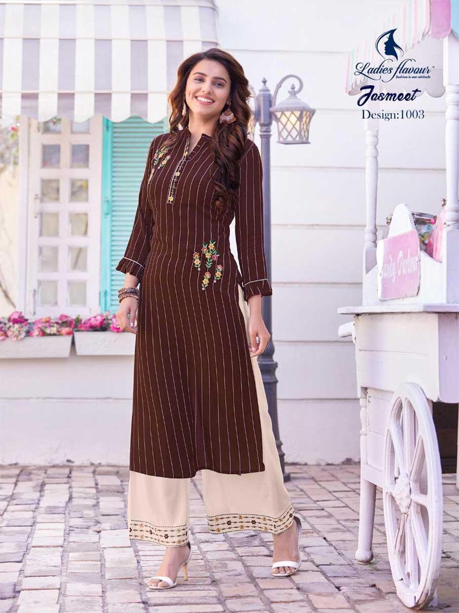 Jasmeet Rayon Strip Kurti Manufacturer