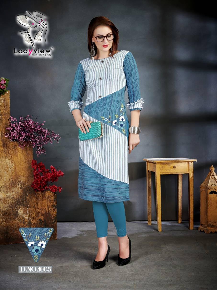 Kulfi Ladyview Hand Embroidery Wholesale Kurti