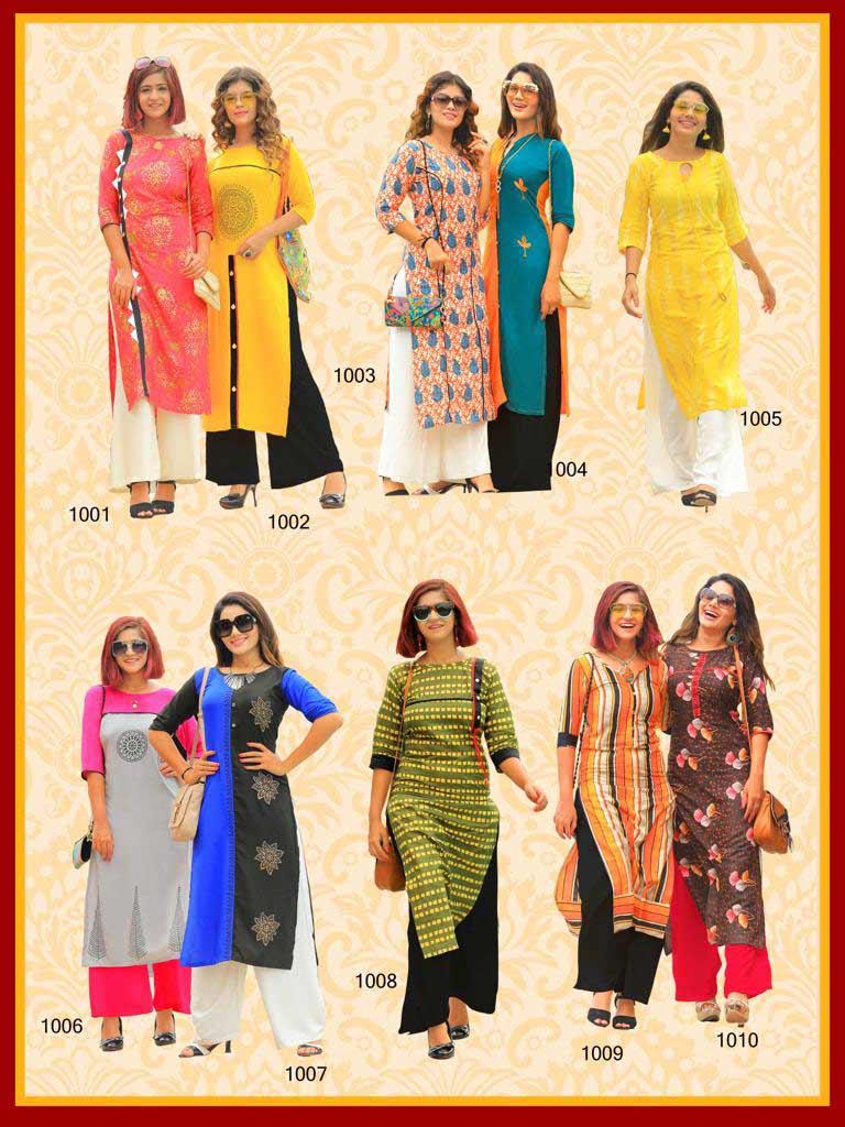 Lifestyle Pk Rayon Print Casual Wholesale Kurti