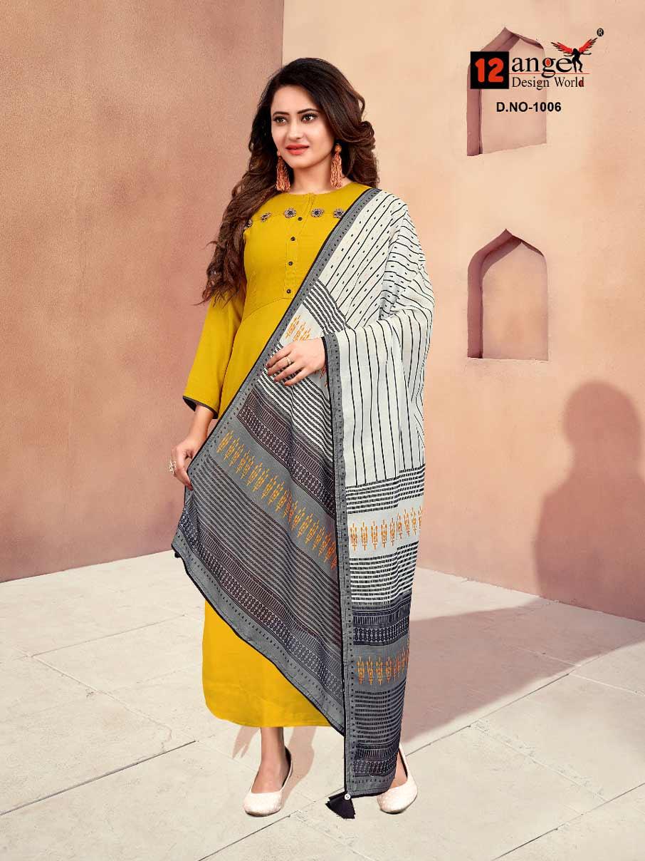 Lotus 12Angel Printed Wholesale Dupatta Gown