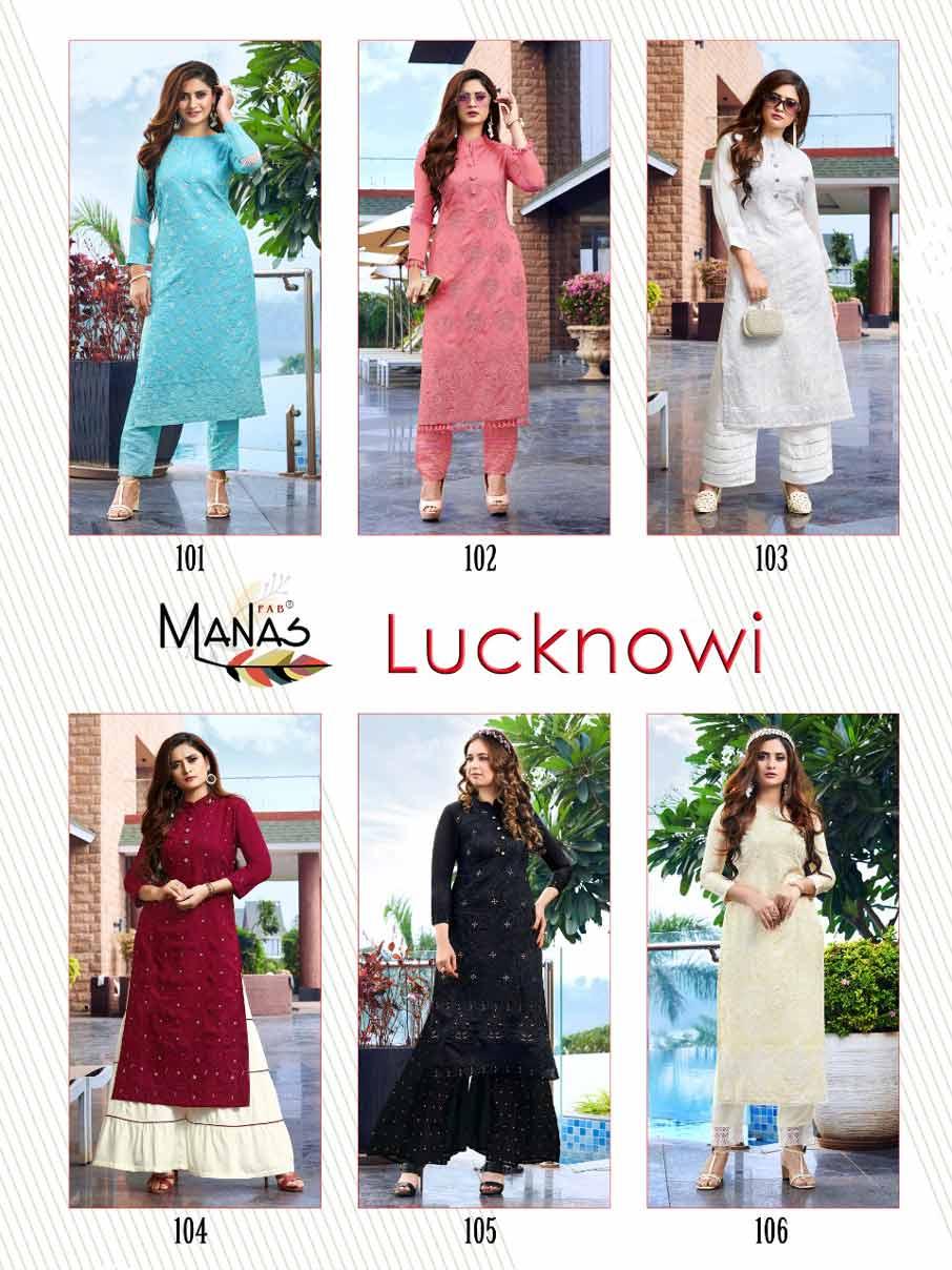 Manas Design Lucknowi Fancy Kurti Catalog