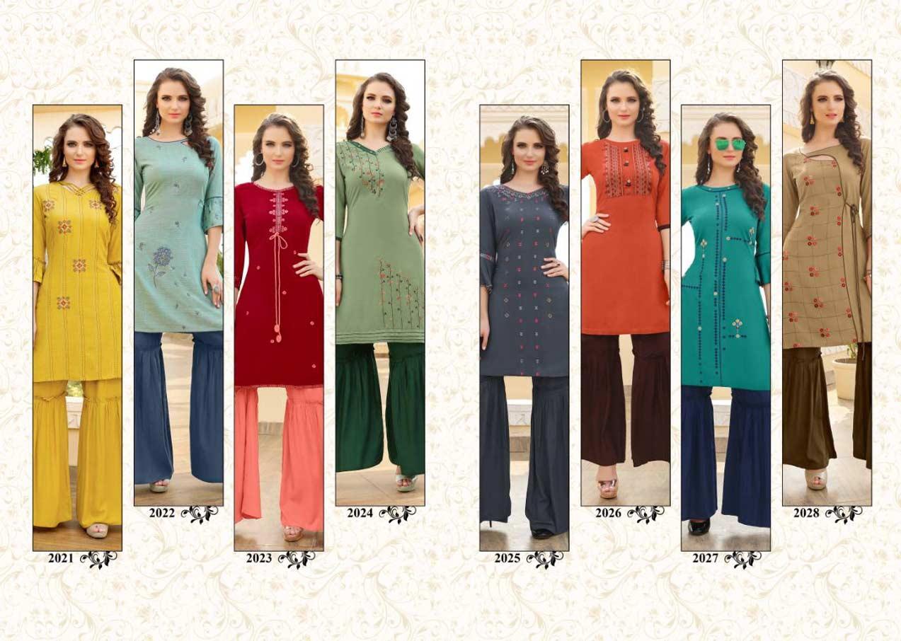 Mallika Yami Fashion Sharara Embroidery Kurtis