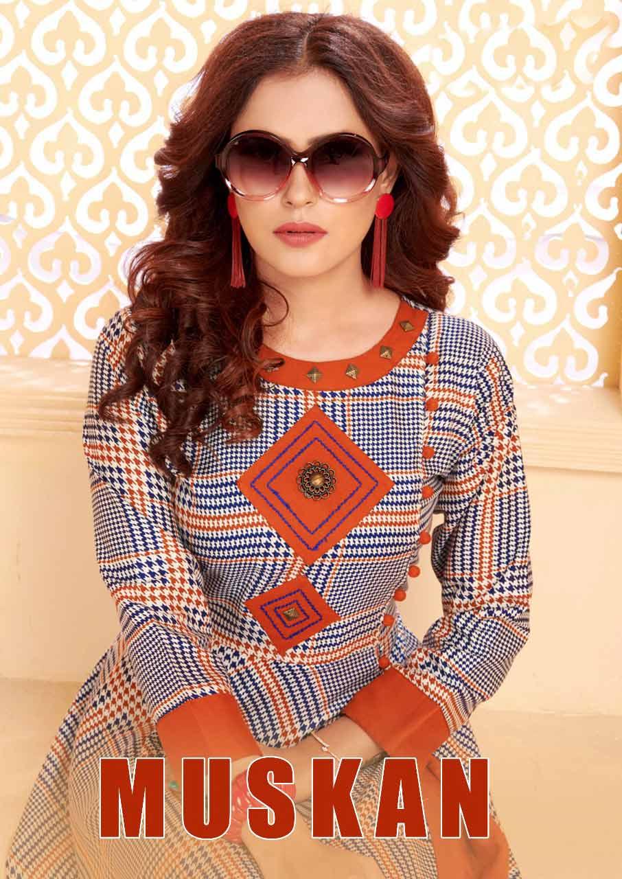 Muskan Elina Full Flair Rayon Printed Long Kurti