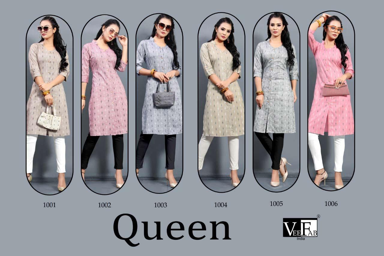 Veefab Queen Handloom Cotton Kurtis Set