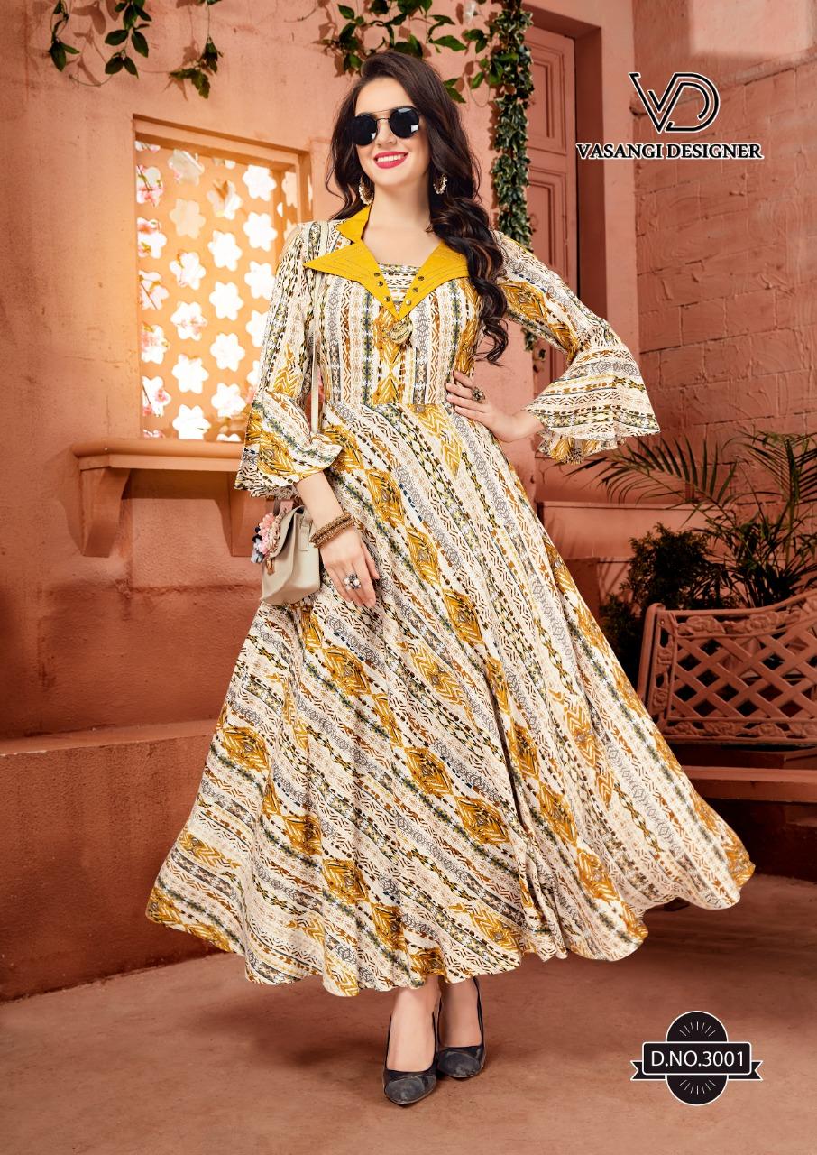 Rangat By Vasangi Designer Premium Reyon Party Wear Kurtis Collection