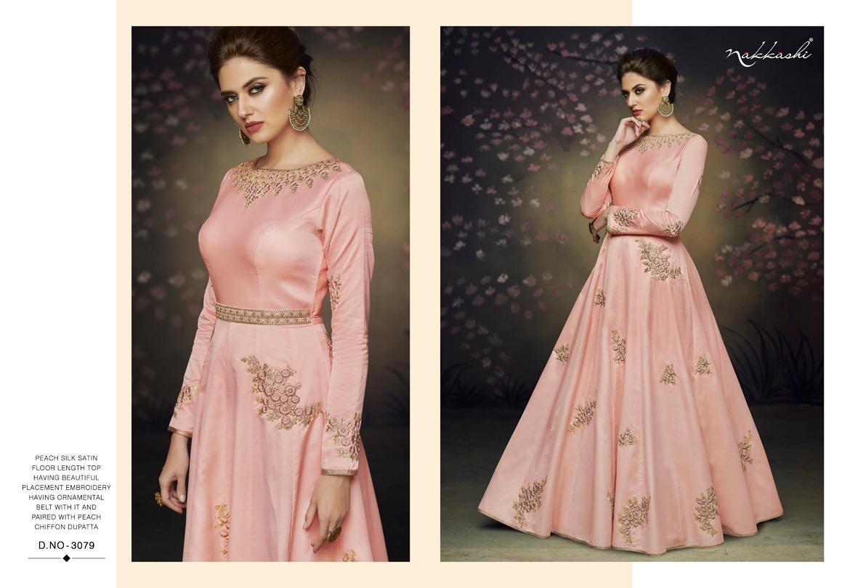 Rare Nakkashi Present Satin Net Embroidery Gowns