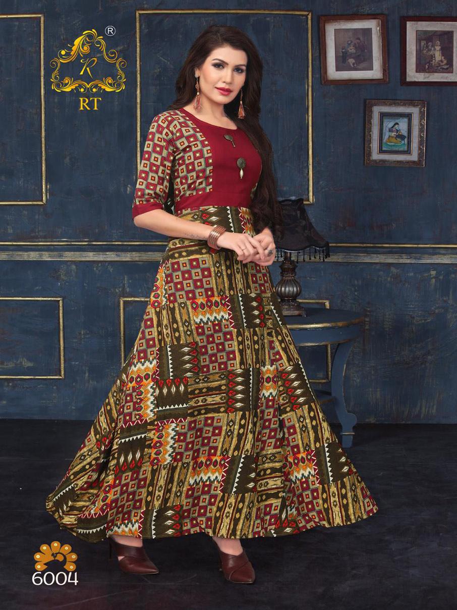 Riwaayat Rijiya Trends Flare Printed Rayon Kurti