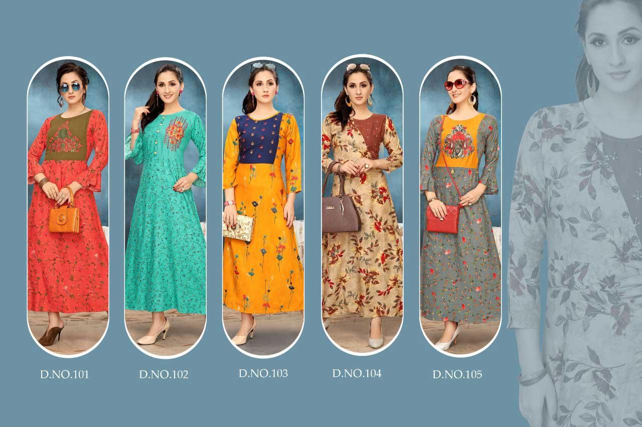 Riwaaz Rayon Print Wholesale Kurti Set