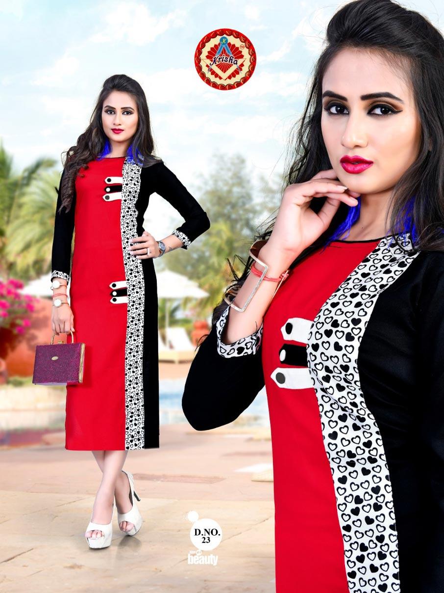 Sana Krisha Print Rayon Straight Digital Wholesale Kurti