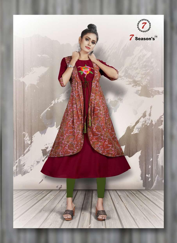 7Seasons Shabana Cotton Silk Jacket Kurti
