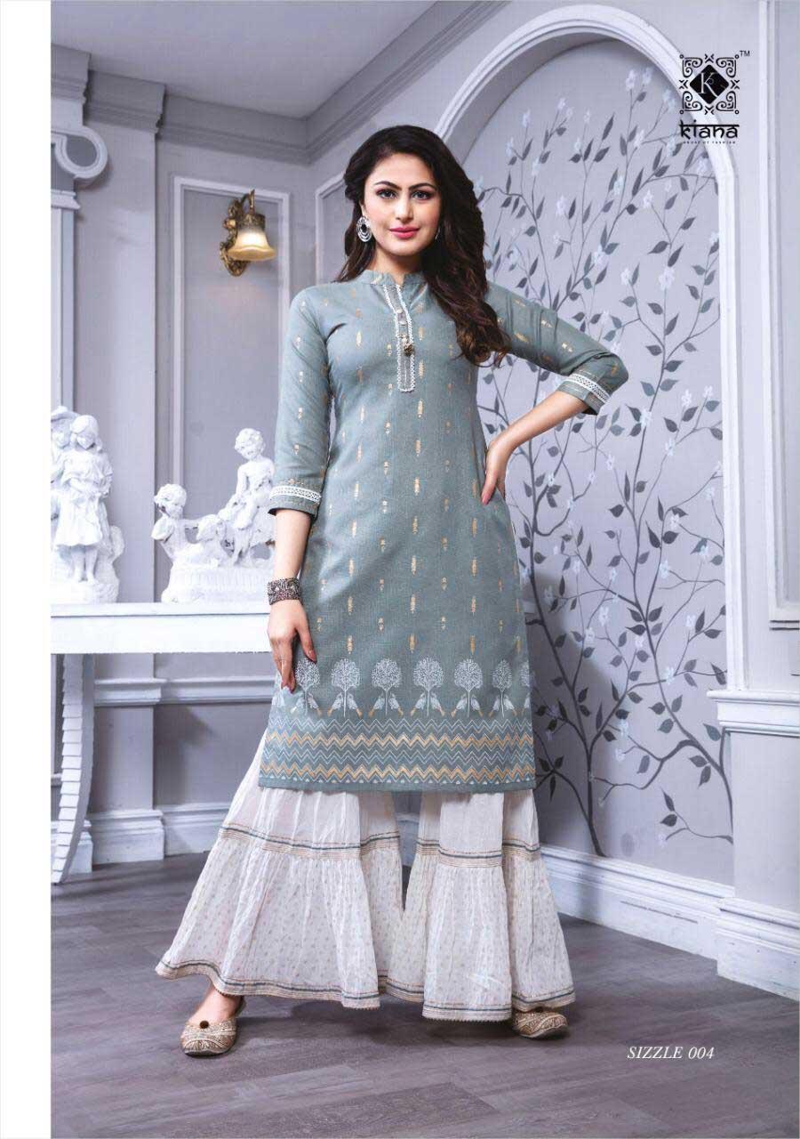Sizzle Cotton Mul Sharara Kurti Catalogue Set Supplier