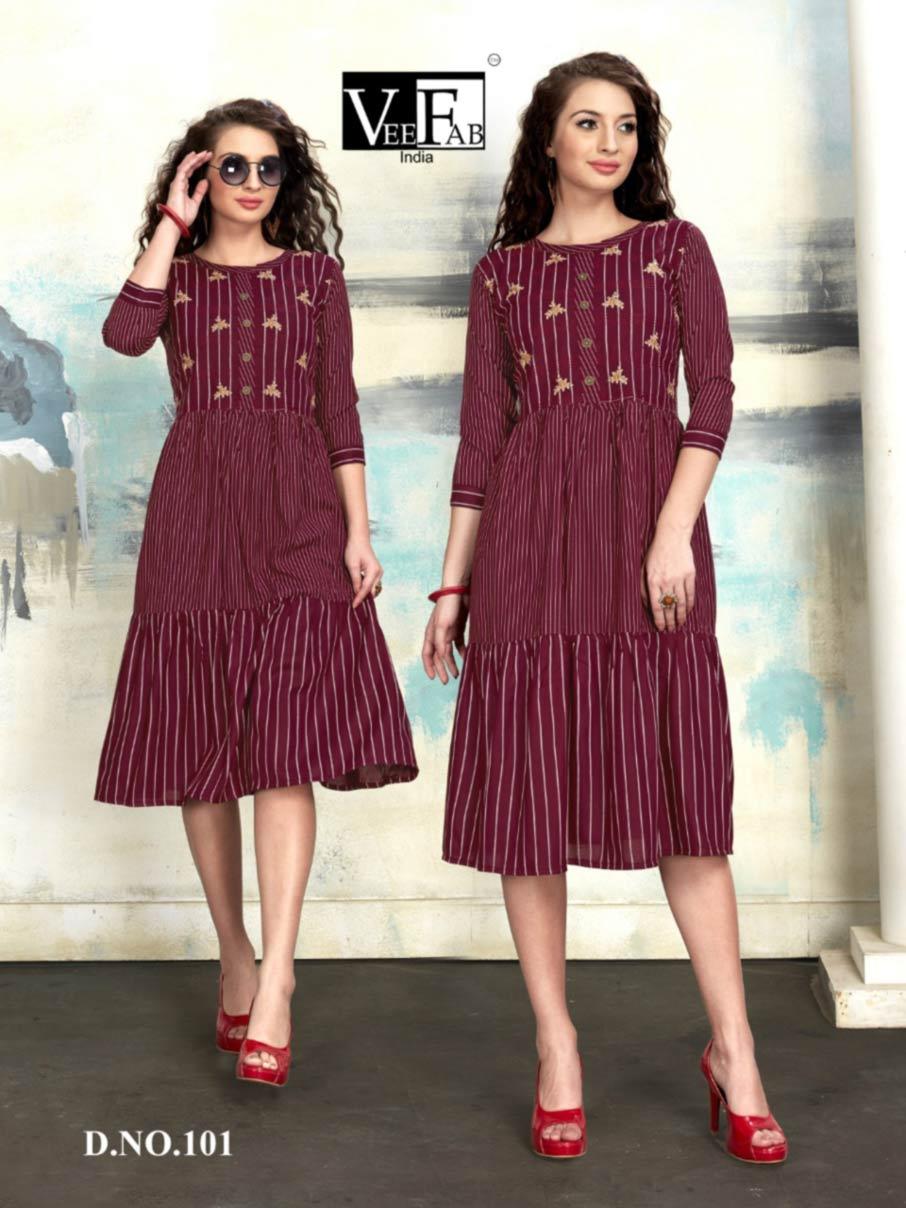 Spring Rayon Embroidery Wholesale Kurti