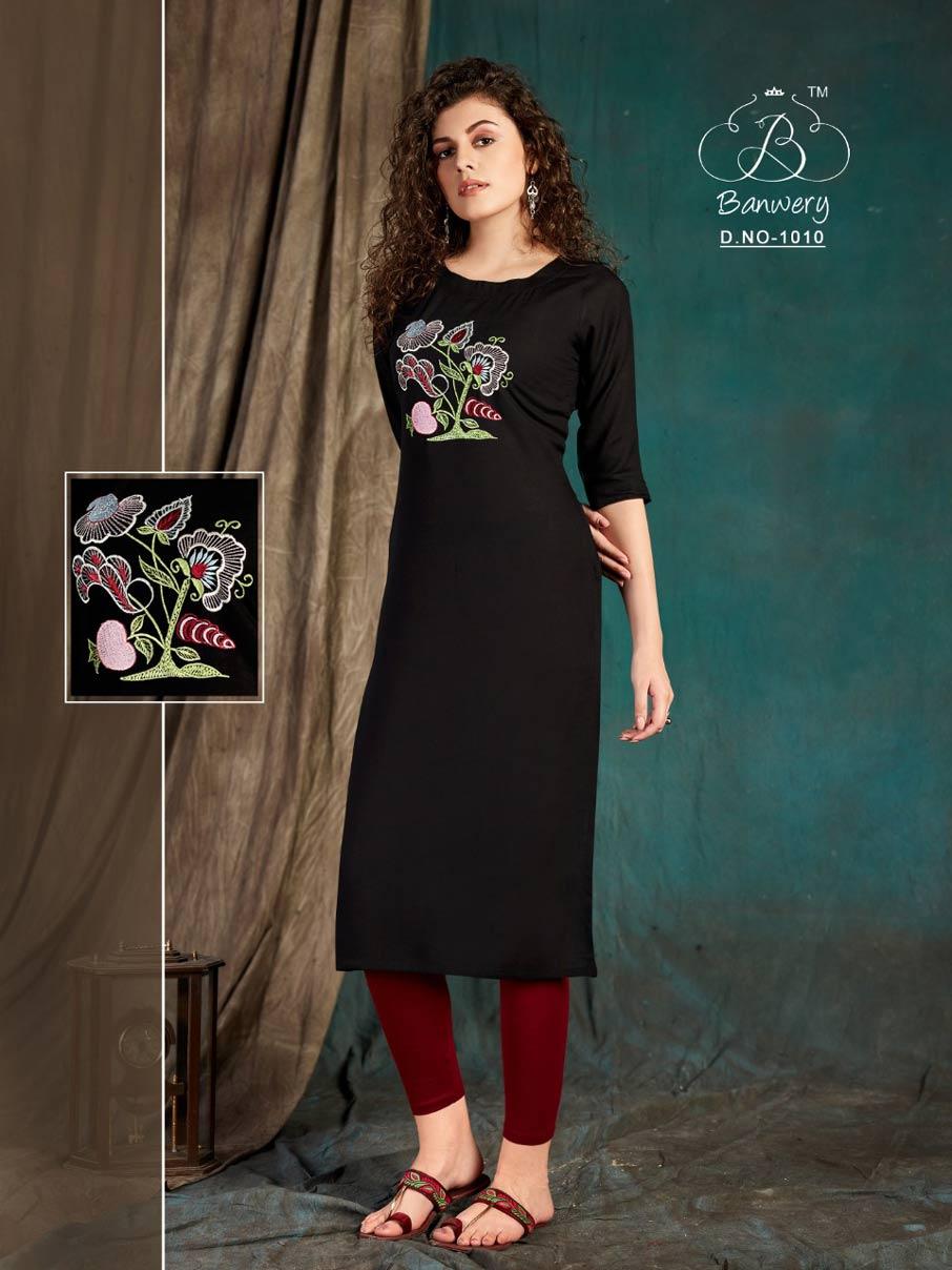 Taapsee Rayon Embroidery Work Kurti Set