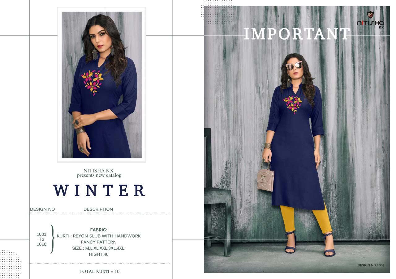 Winter Khatli Work Wholesale Kurti Catalog