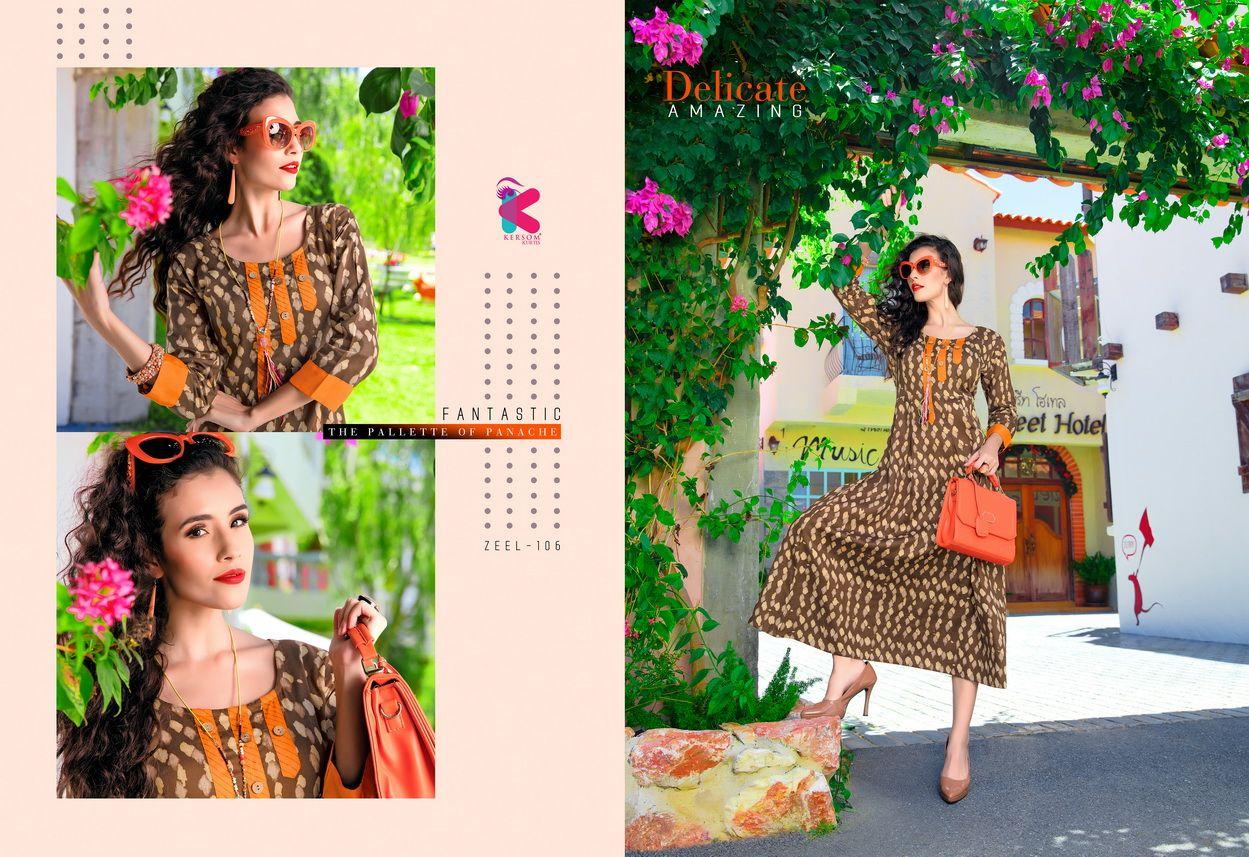 Zeel Cotton Printed Kersom Design Kurti Catalog