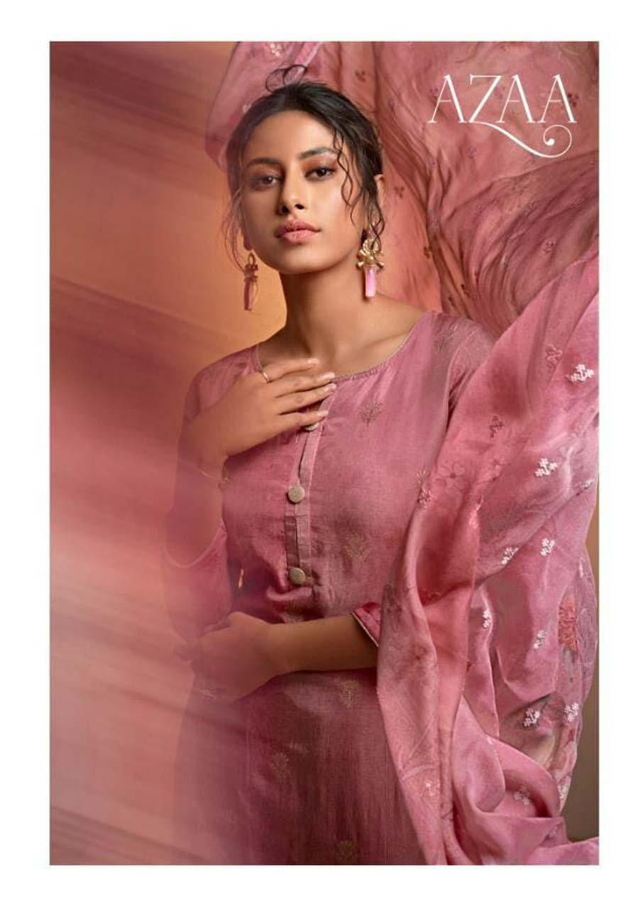 Azaa Silk Jacquard Salwar Suits Catalogue Set