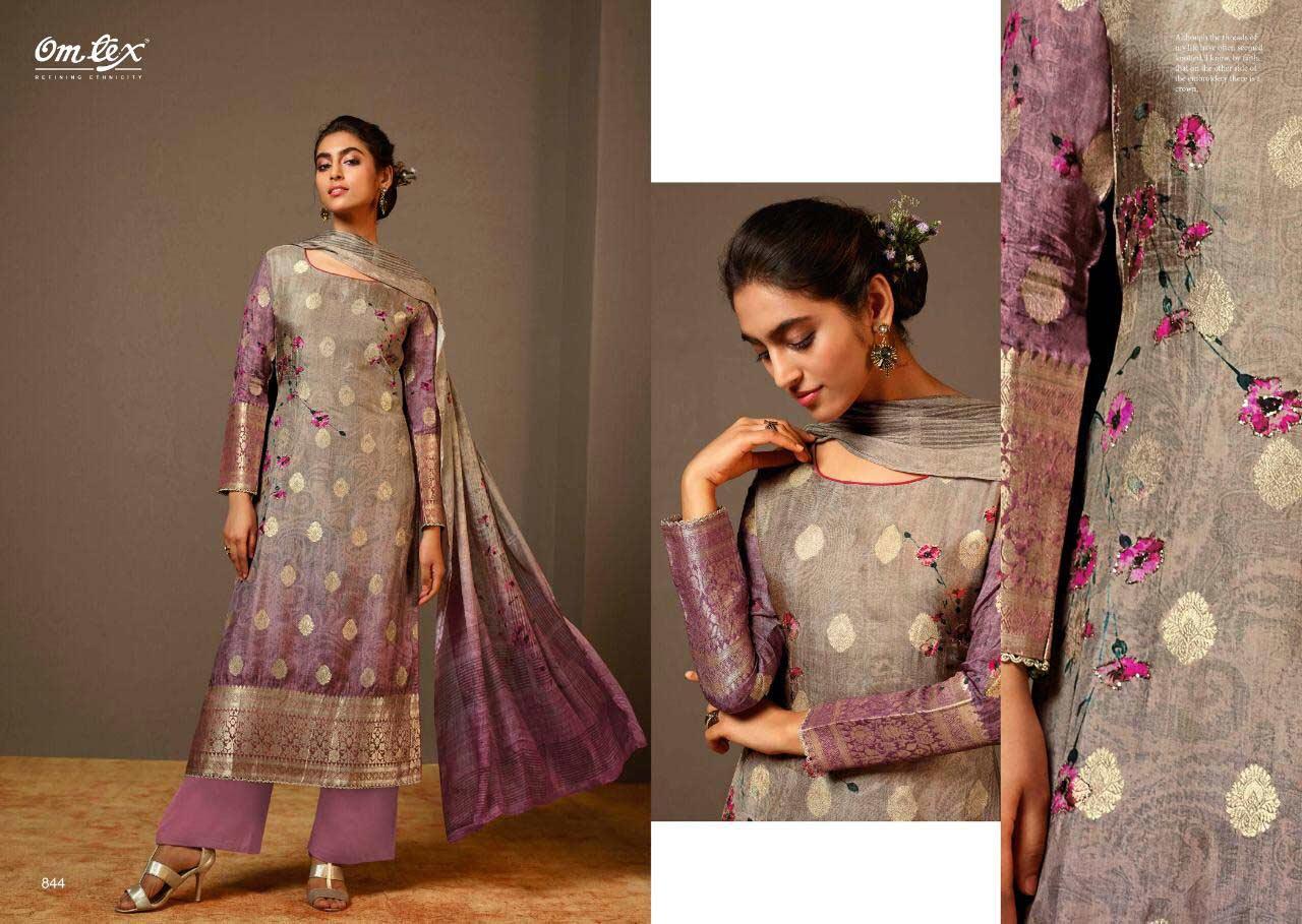Omtex Kesari Banarasi Jacquard Digital Print Suit