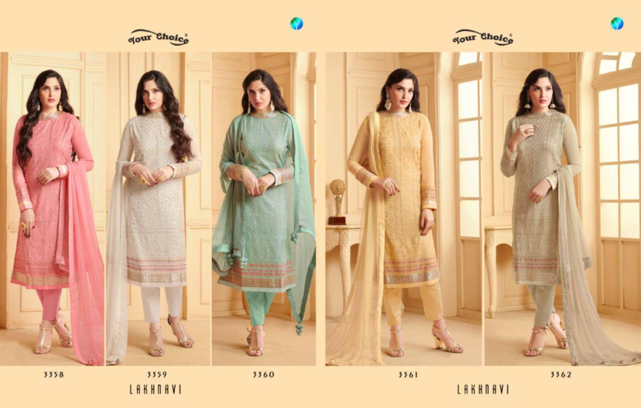 Lakhnavi Embroidery Wholesale Salwar Kameez Set