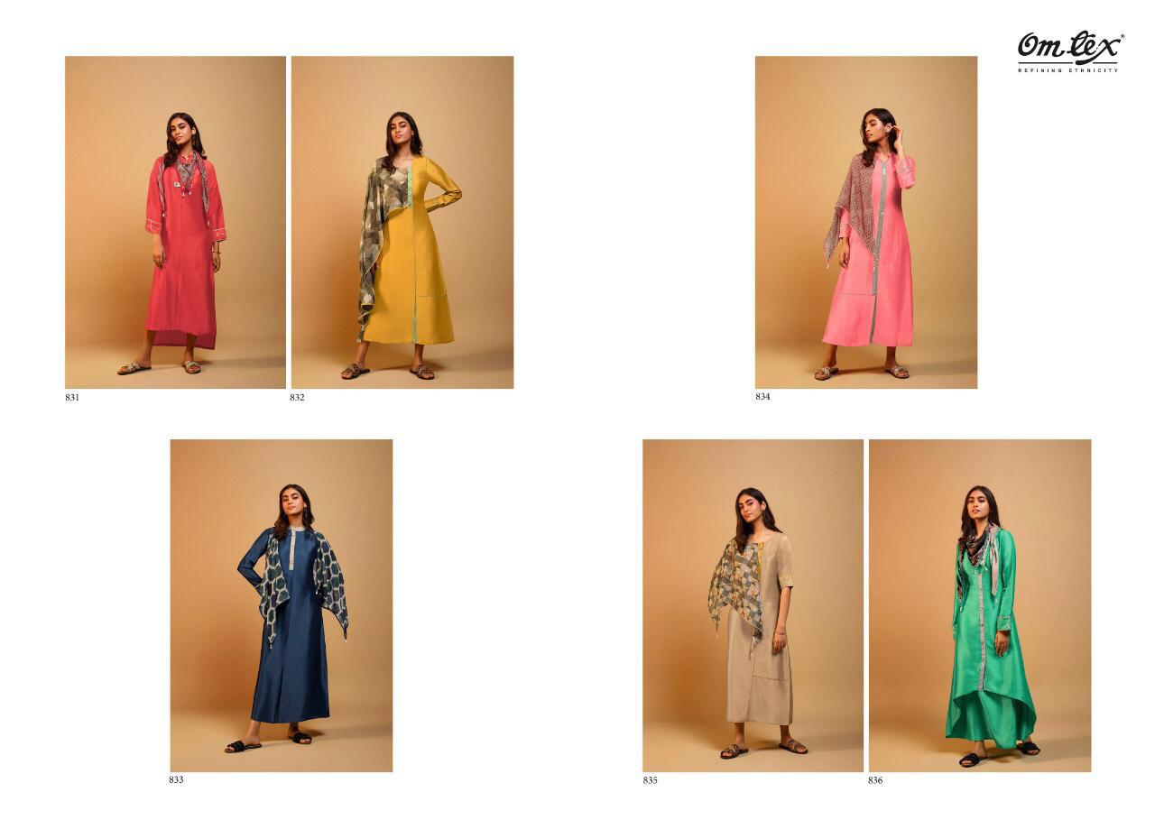Om Tex Spark Readymade Long Dress With Scarf