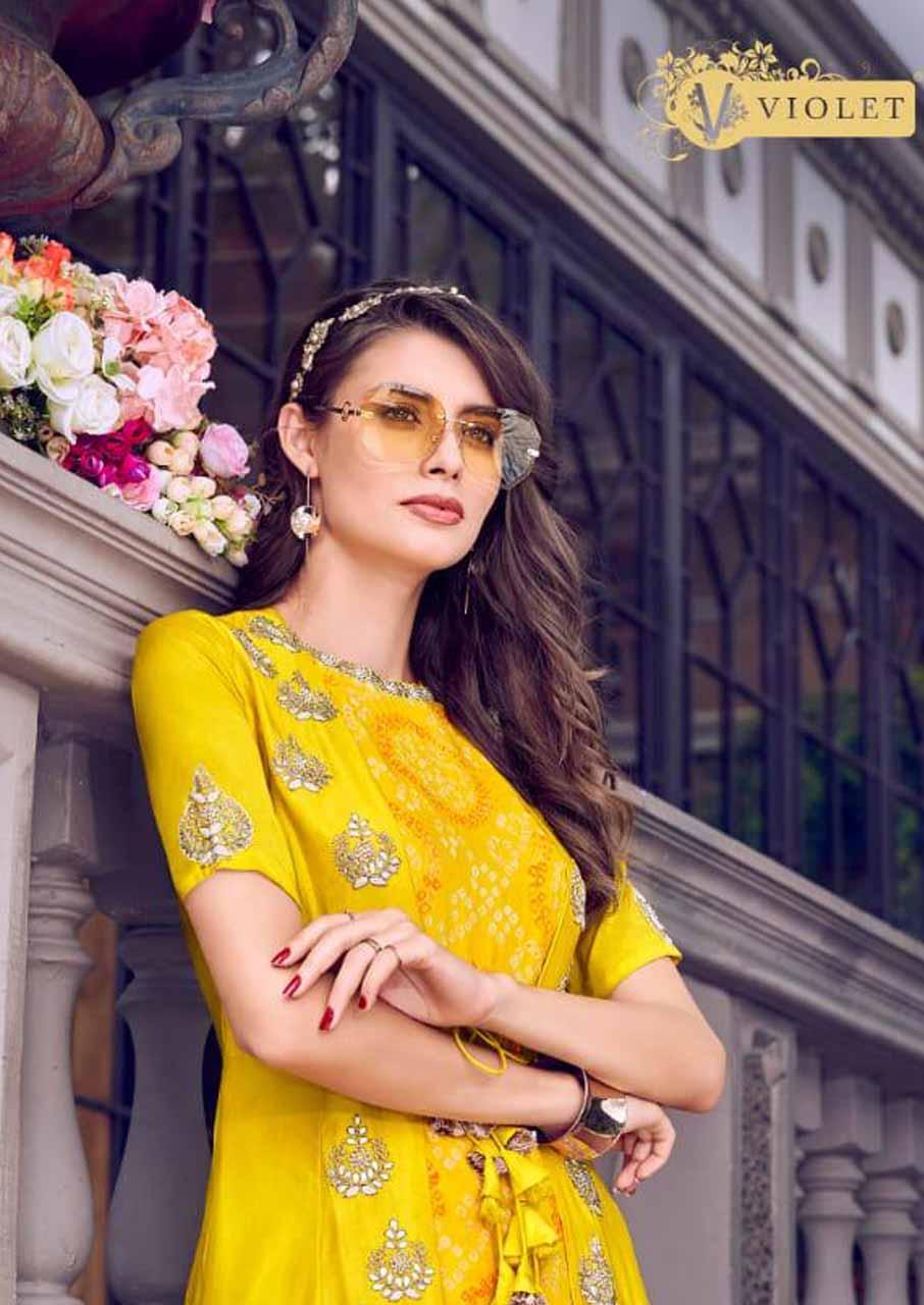 Violet Tusser Satin Salwar Suits Catalogue Set