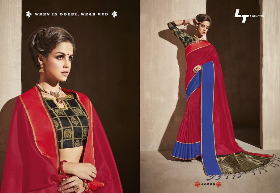 LT Fabrics Surbhi Bhagalpuri Satin Border Sarees
