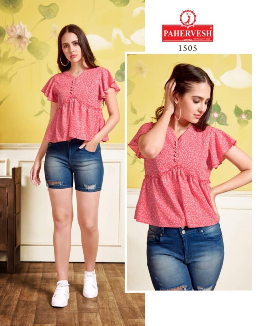 Pahervesh Daisy Moss Fabric Wholesale Top