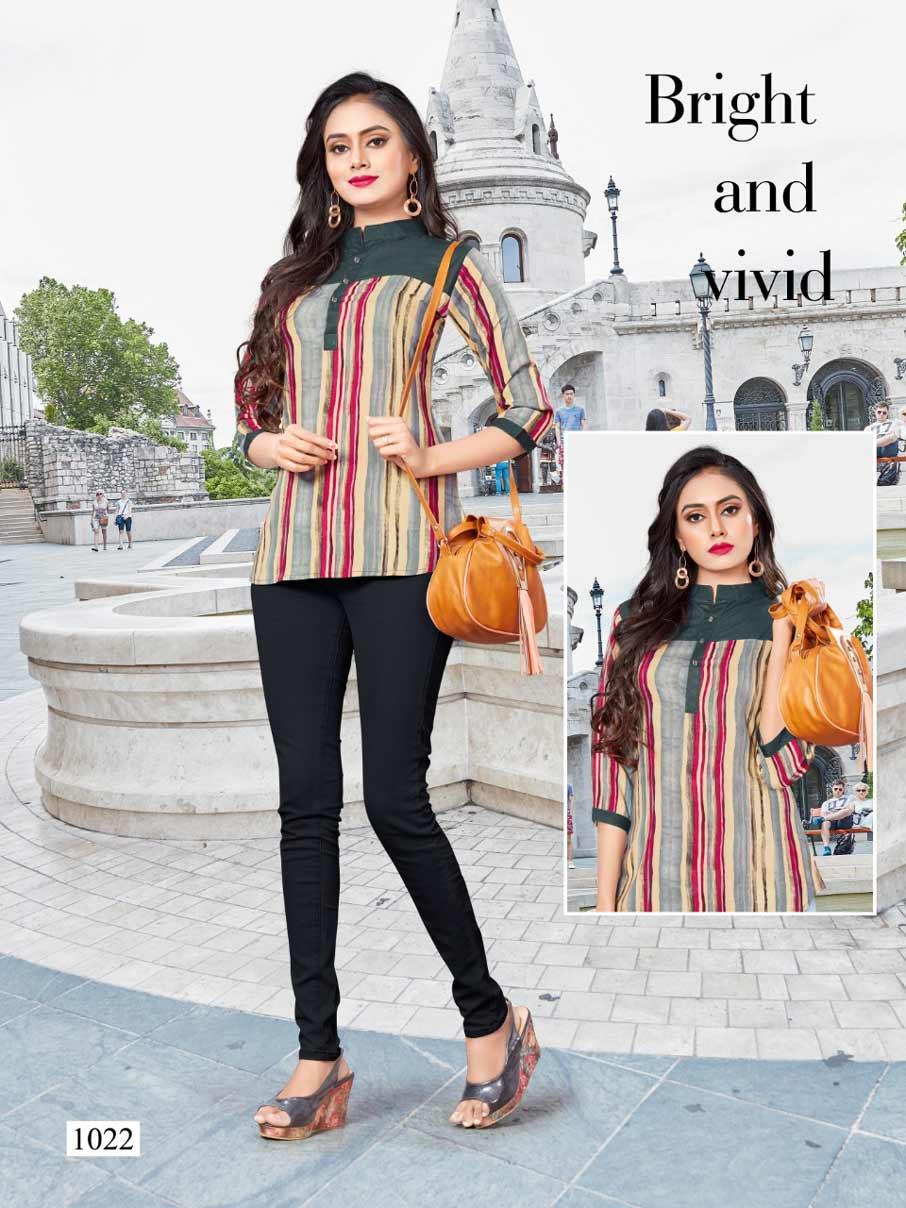 Griva Vrunda Tex Printed Girls Wear Rayon Tops Catalog