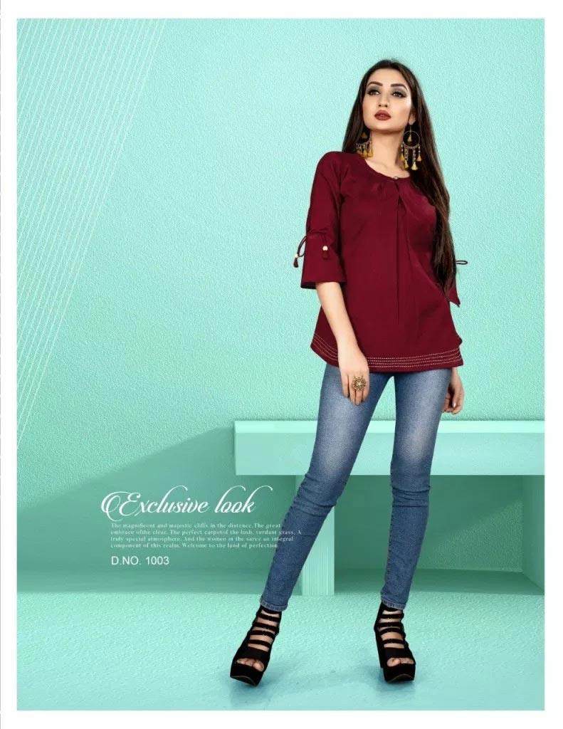 Kiwi Alishka Plain Cotton Girls Wear Tops Collection