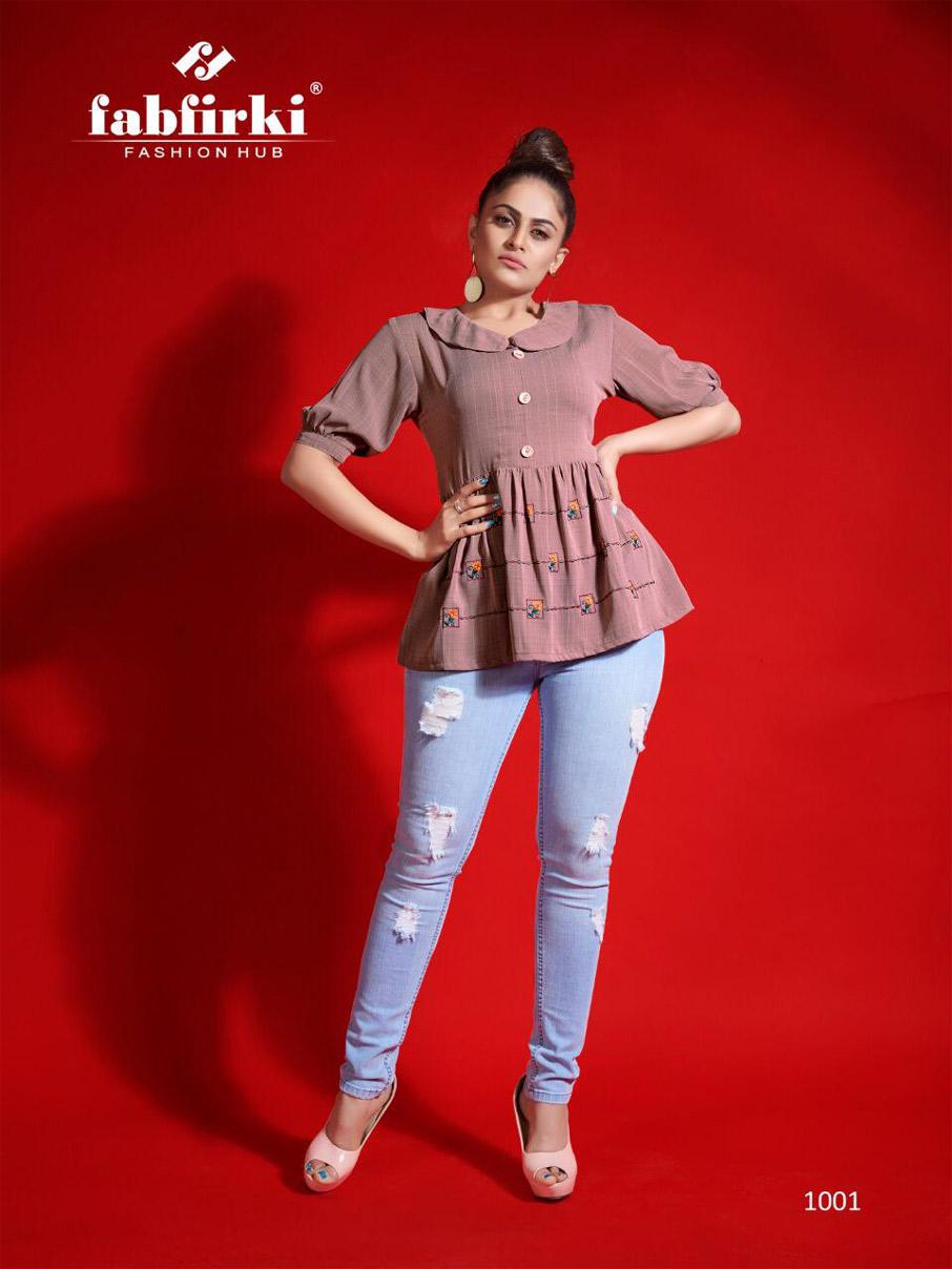 Fabfirki Red-Look Embroidery Western Wear Tops
